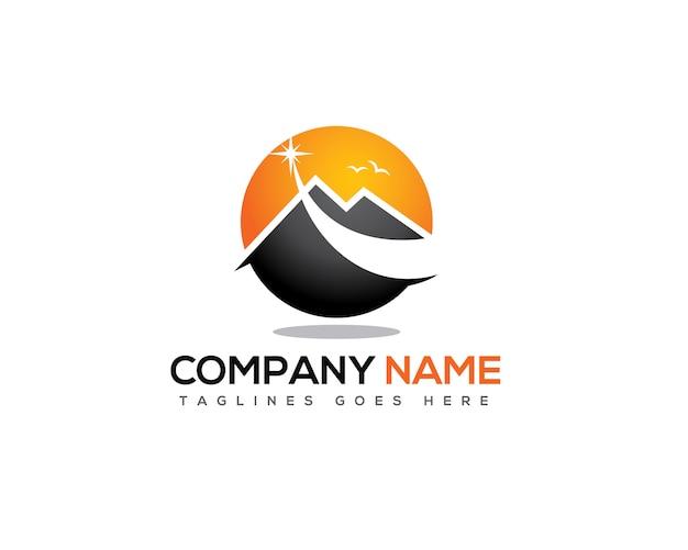Étoile filante au-dessus du logo de la montagne