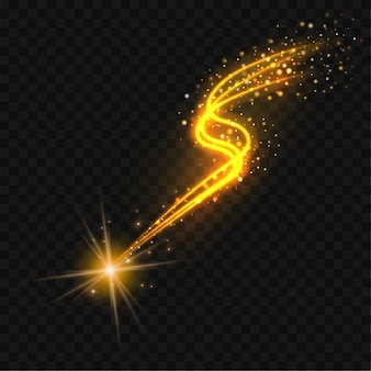 Étoile filante dorée avec traînée scintillante. résumé des lignes dorées sur fond noir.