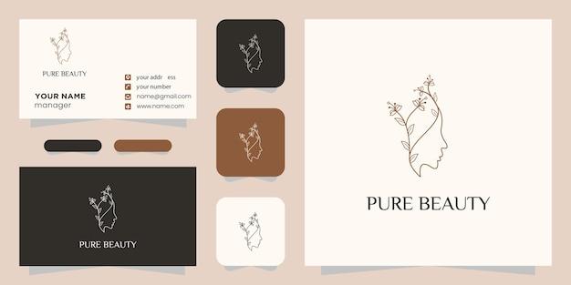 Étoile de fleur de visage de belle femme avec logo de style art en ligne et conception de carte de visite.