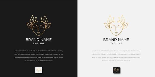Étoile de fleur de visage de belle femme avec logo de style art en ligne.