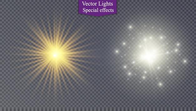 Étoile Sur Fond Transparent, Effet De Lumière, Illustration. éclate D'étincelles. Vecteur Premium