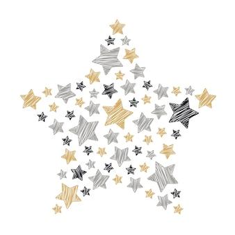 étoile gribouillis noël or noir gris isolé fond blanc