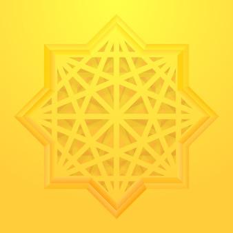 Étoile à huit points avec motif géométrique.