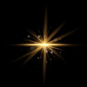 Étoile jaune d'or éclatée de poussière et d'éclat isolé