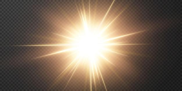 Étoile lumineuse sur fond noir transparent