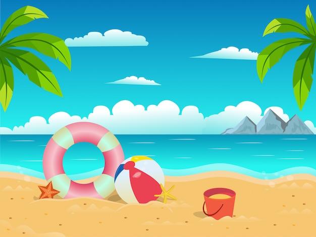 Étoile de mer boule et bouée de sauvetage sur la plage fond de ciel bleu pour illustration de concept de vacances d'été