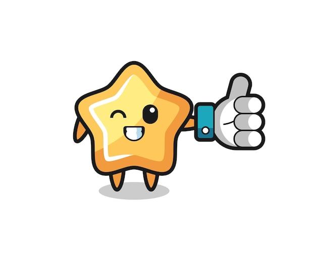 Étoile mignonne avec le symbole du pouce levé des médias sociaux, design de style mignon pour t-shirt, autocollant, élément de logo