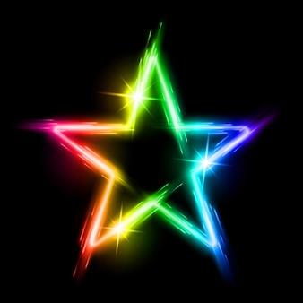 Étoile néon multicolore