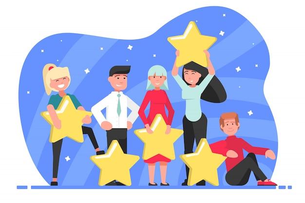 Étoile, note, haut, estimation, concept de certification