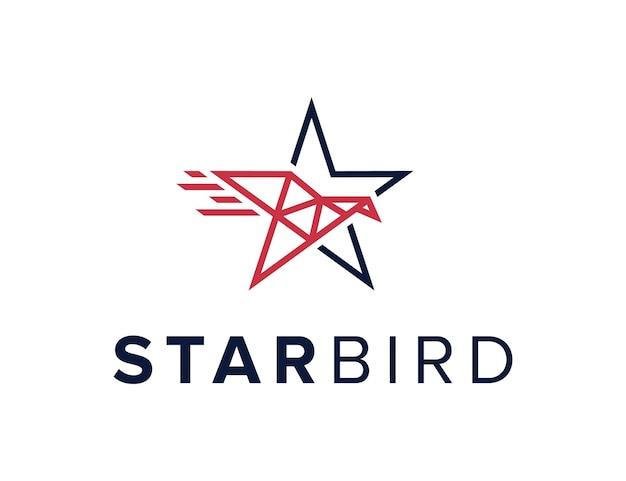 L'étoile et l'oiseau en mouvement décrivent une conception de logo moderne géométrique créative simple et élégante