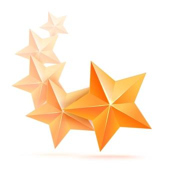 Étoile d'or 3d réaliste. gagnant du prix. cinq étoiles d'or. bon travail. meilleure récompense. étoile de cuivre en vrac. simple 5 étoiles. le prix du meilleur choix. classe premium.
