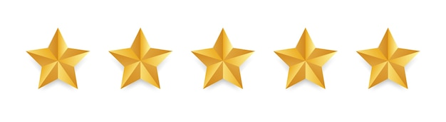 Étoile. or isolé cinq étoiles. concept de rétroaction client. examen des étoiles. forme de qualité.
