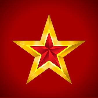 Étoile d'or rouge