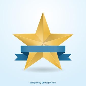 Étoile d'or avec un ruban