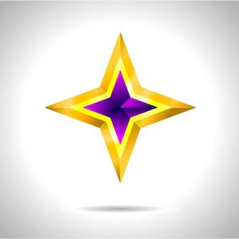 Étoile d'or violet sur fond d'acier