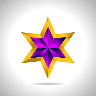 Une étoile en or violet sur fond en acier