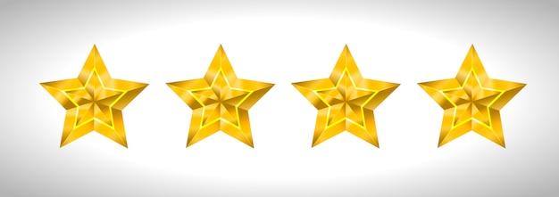 Étoile réaliste 3d métallique isolé doré jaune