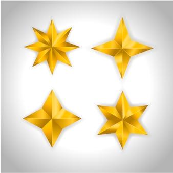 Étoile réaliste métallique doré isolé jaune 3d noël