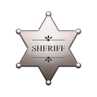 Étoile de shérif d'argent isolée