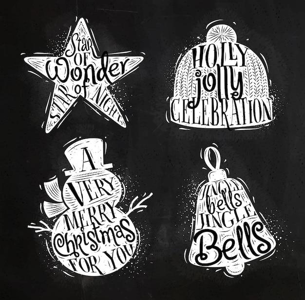 Étoile de silhouettes vintage de noël, bonhomme de neige, cloche, chapeau d'hiver