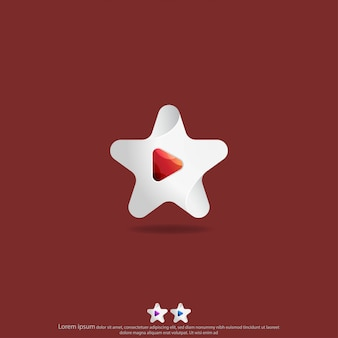Étoile avec vecteur de conception de logo de bouton de lecture