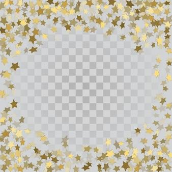 Étoiles 3d or sur fond transparent