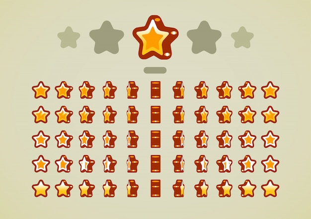 Étoiles animées d'or pour les jeux vidéo