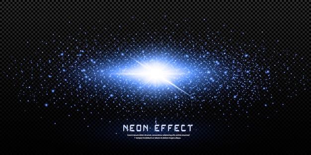 Étoiles au néon brillantes isolés sur fond noir. effets, lumière parasite, éclat, explosion, néon, ensemble. étoiles brillantes, beaux rayons bleus.