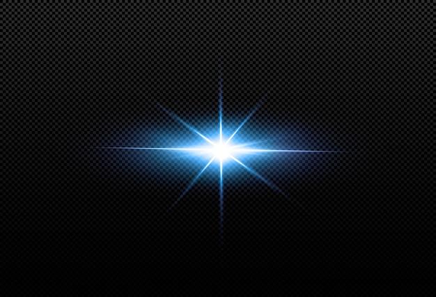 Étoiles au néon brillantes isolés sur fond noir. effets, lumière parasite, éclat, explosion, néon, ensemble. étoiles brillantes, beaux rayons bleus. .