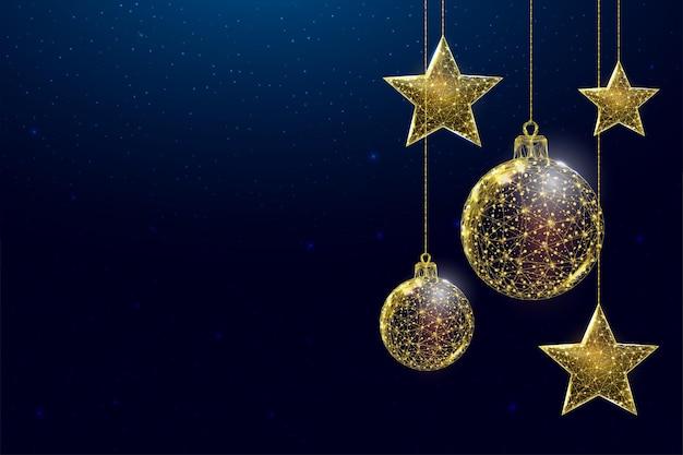 Étoiles et boules dorées filaires, style low poly. bannière pour le concept de noël ou du nouvel an avec une place pour une inscription. illustration vectorielle 3d moderne abstraite sur fond bleu.