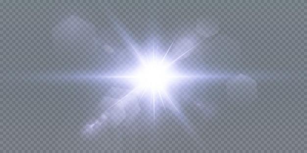 Étoiles brillantes au néon isolés sur fond noir. effets, lumière parasite, brillance, explosion, néon, ensemble. étoiles brillantes, beaux rayons bleus.