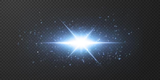 Étoiles brillantes au néon isolés sur fond noir.