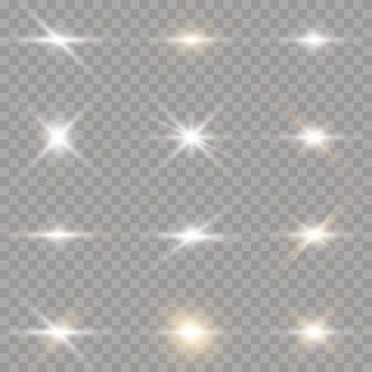 Étoiles brillantes sur fond transparent. étoile brillante blanche avec éclat de lumière. éblouissement, explosion, éclat, ligne, lumière du soleil.