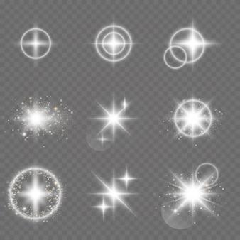 Étoiles brillantes de vecteur. effet lumineux.