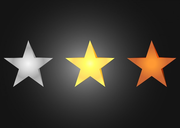 Étoiles en bronze argentées d'or