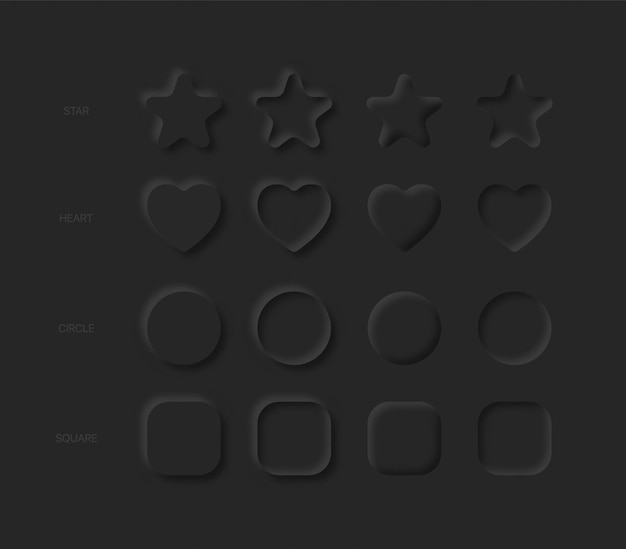 Étoiles, coeurs, cercles, carrés dans différentes variations sur noir