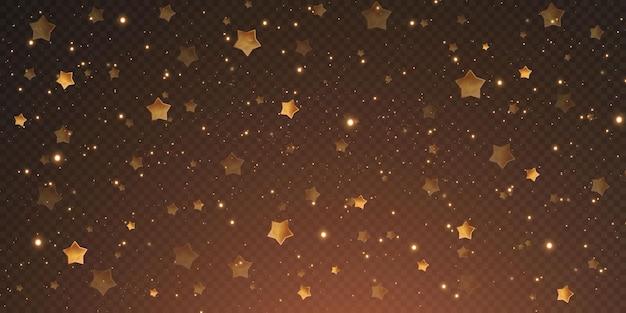 Des étoiles de confettis d'or de noël tombent, des étoiles brillantes volent dans le ciel nocturne au milieu du reflet des points lumineux de l'espace. fond de vacances. éclat magique.