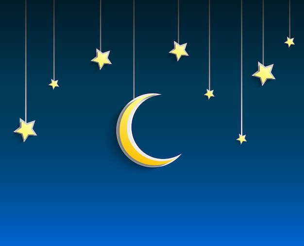 Étoiles et croissant de lune pendu une corde sur fond bleu