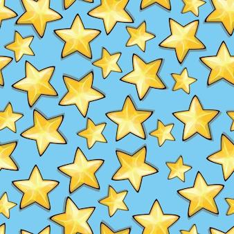 Étoiles de dessin animé sur fond bleu. modèle sans couture