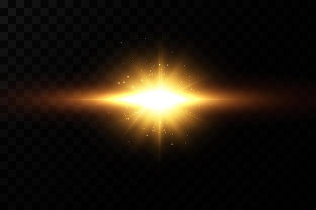 Étoiles dorées brillantes. effets, éblouissement, lignes, paillettes, explosion, lumière dorée.