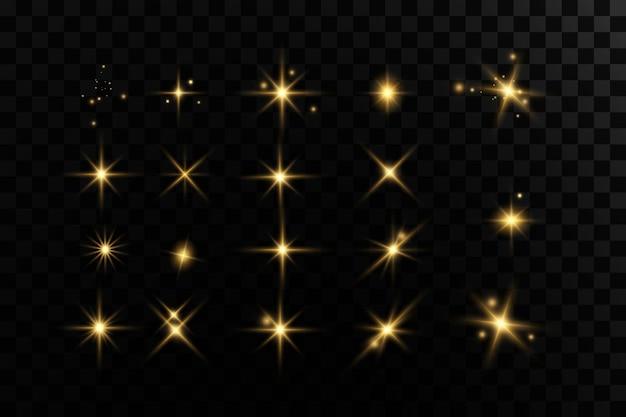Étoiles dorées brillantes effets de lumière éblouissants paillettes