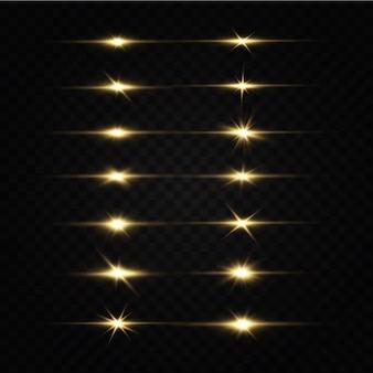 Étoiles Dorées Brillantes Effets De Lumière éblouissement Explosion De Paillettes Lumière Dorée Vecteur Premium