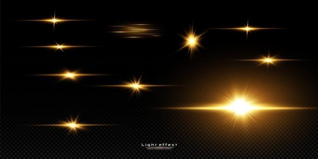 Étoiles dorées brillantes sur fond noir. effets, éblouissement, lignes, paillettes, explosion, lumière dorée. illustration
