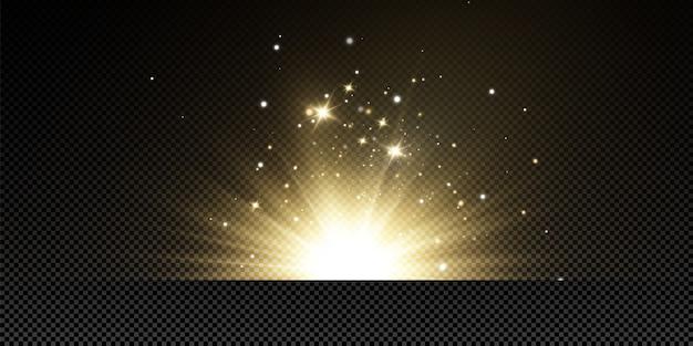 Étoiles dorées brillantes sur fond noir. effets, reflets, lignes, paillettes, explosion, lumière dorée. illustration