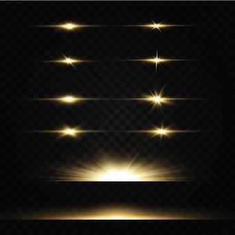Étoiles dorées brillantes sur fond noir. effets, reflets, lignes, paillettes, explosion, lumière dorée. illustration.