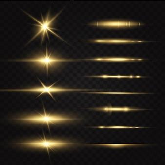 Étoiles dorées brillantes isolées. effets, éblouissement, lignes, paillettes, explosion, lumière