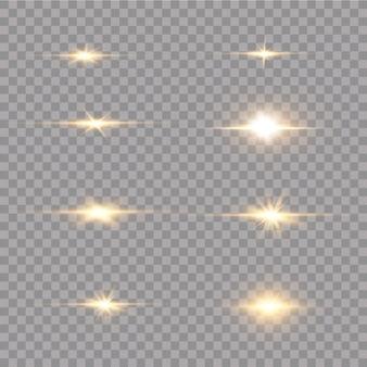 Étoiles dorées brillantes isolées sur fond noir. effets, reflets, lignes, paillettes, explosion, lumière dorée. illustration vectorielle