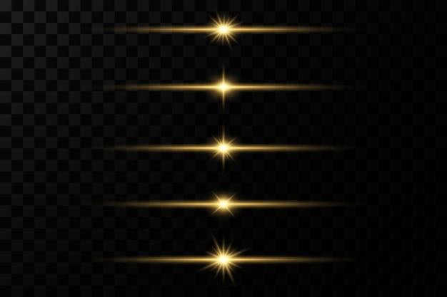 Étoiles dorées brillantes isolées sur fond transparent effets, éblouissement, lignes, paillettes, explosion, lumière.