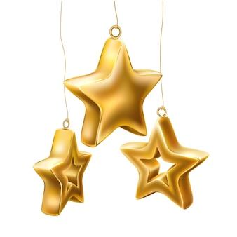 Étoiles dorées brillantes réalistes suspendues.