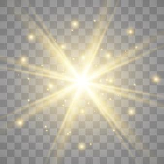 Étoiles dorées scintillent effet de lumière spécial. scintille sur fond transparent. particules de poussière magique étincelante